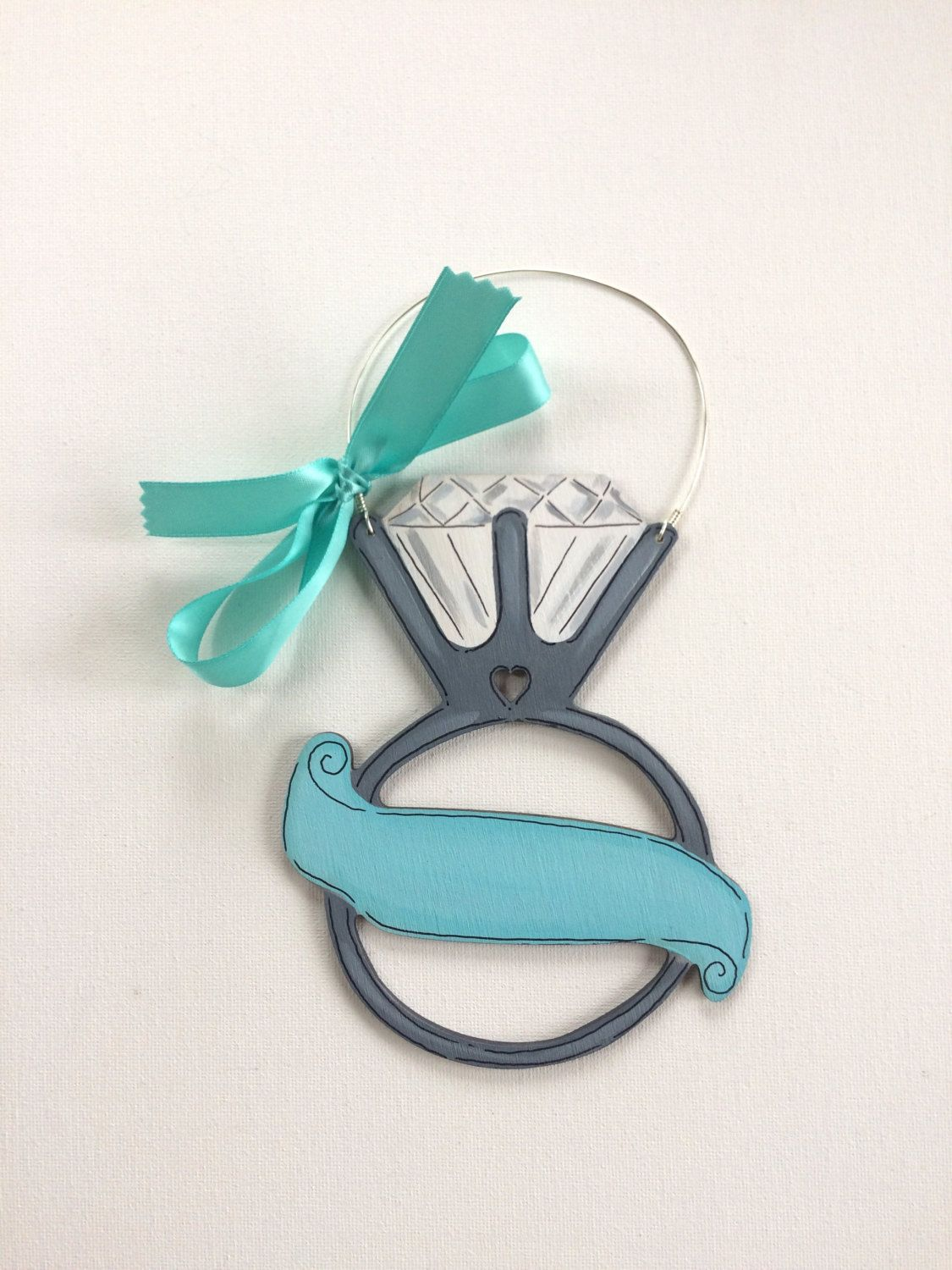 Engagement ring ornament aqua engagement gift personalized