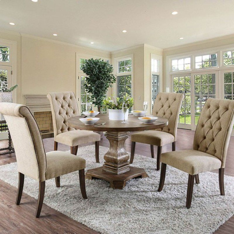 Cm3840a Rt 3564 5 Pc Nerissa Antique Oak Finish Wood 48 Round Dining Table Set With Tufted Chairs Round Dining