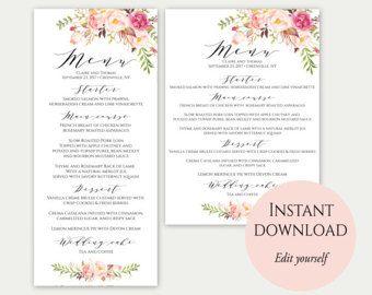 Boho Printable Wedding Menu Boho Wedding Menu Card Template