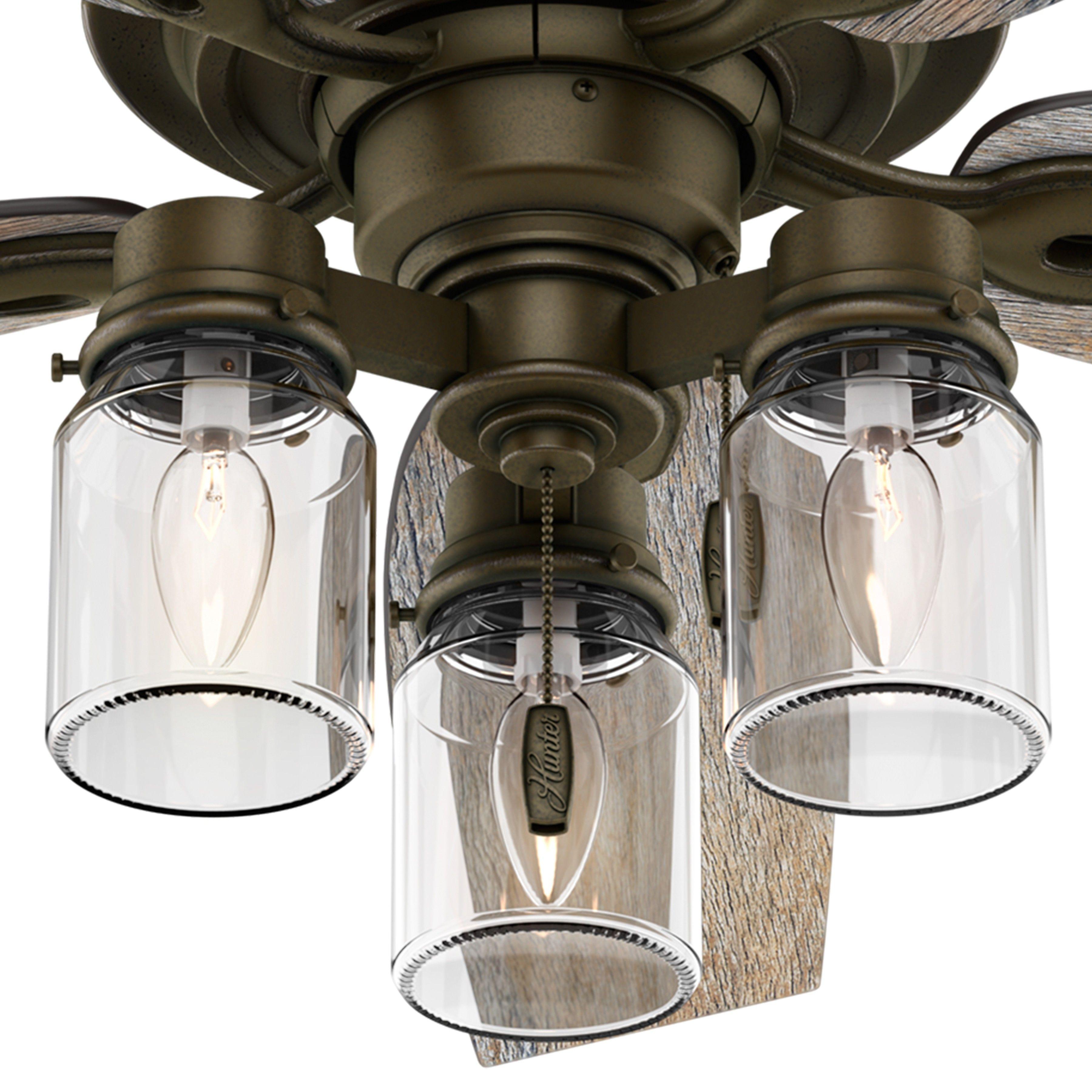 Hunter Fan 52 Regal Bronze Ceiling Fan Includes Three Light Fitter With Clear Glass Bronze Ceiling Fan Ceiling Fan With Light Ceiling Fan Light Kit