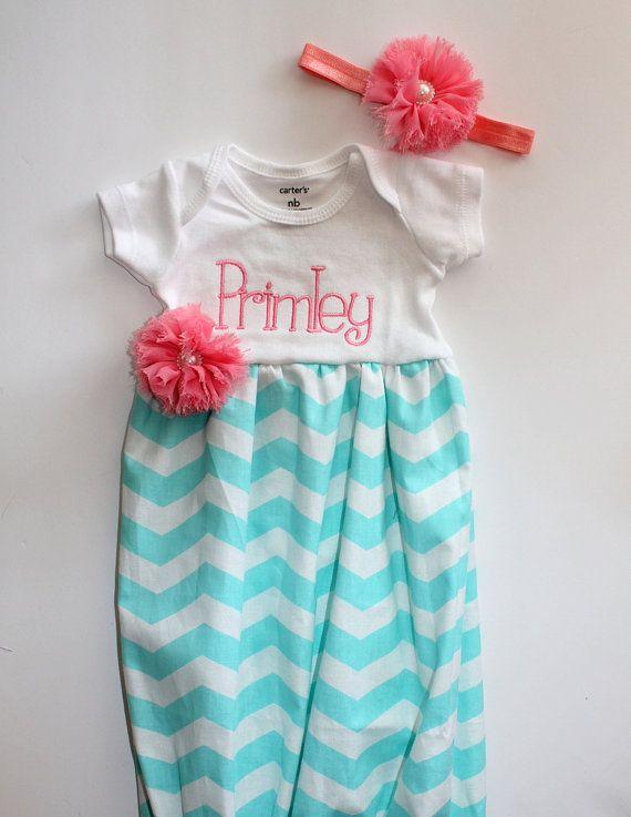 Newborn Going Home Dress - Girls Chevron Dress - T-Shirt Dress - Aqua - Coral - Big Sister Outfit - Baby Shower Gift - With Headband