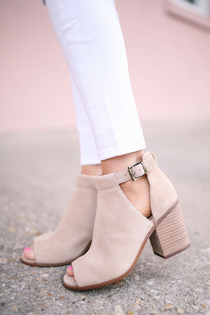 c824b62c8 Suede cutout booties with open toe front and stacked heel