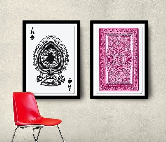 Set of 2 Big Posters, Playing Cards Posters, 20x30 50x70cm Home ...