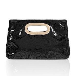 Michael Kors Black Patent Embossed Leather Berkley Clutch