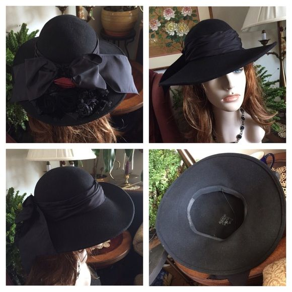 """VTG BOLLMAN WHITTALL & SHON Black Felt Wool Hat 100% wool Doeskin felt black hat ~ Bollman Hat Co. ~ WHITTALL & SHON~Made in USA. Outside has a layered black satin ribbon that's  tied in back into a flat bow surrounded by gorgeous black velvet & satin rosettes & one deep red rosette. Inside lined in black grosgrain ribbon & has a chin strap. Inside circumference 21""""; 14"""" front to back; 13"""" side-to-side; height of crown approx. 3"""". Mannequin for display only & not reflective of how your hat…"""