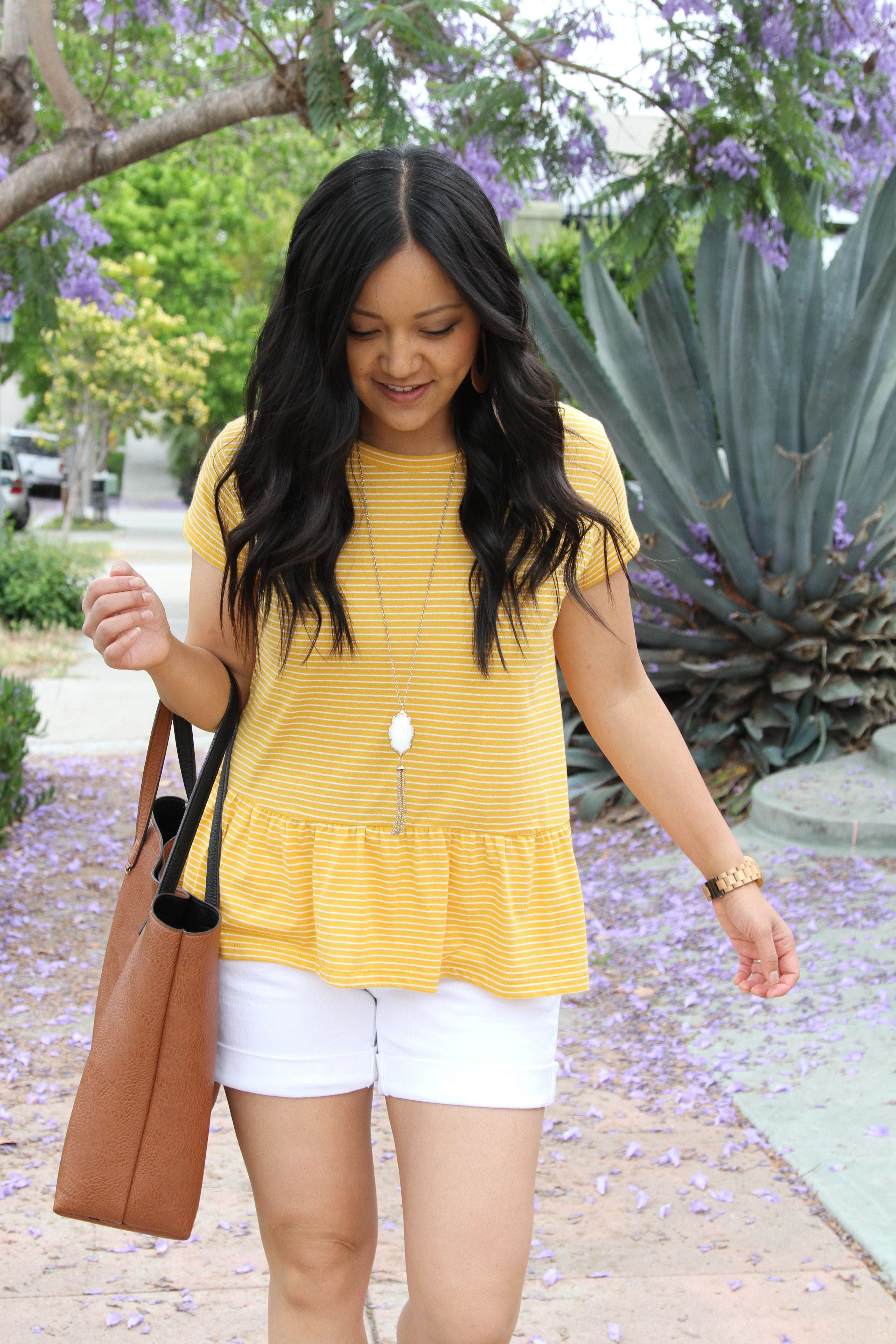 9295ae4f446 White Shorts + Yellow Peplum Top + Cognac Bag Casual Summer Outfits