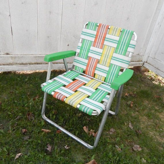 1960 S Vintage Aluminum Lawn Chair Child Youth Size Folding Design Plastic Arm Rests Original Webbing In Retro Green Red Yellow