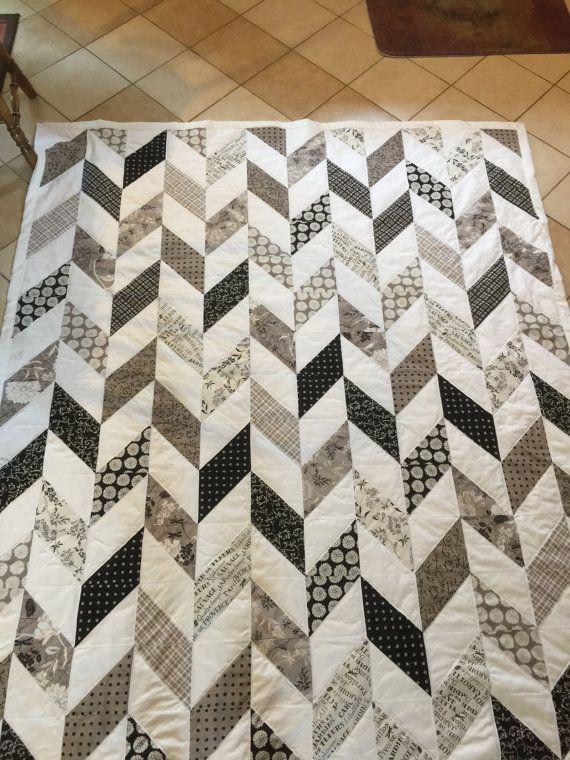 Modern Herringbone Quilt By Sewingmydream On Etsy Crafts