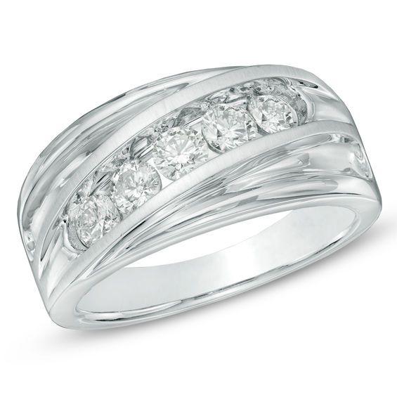 Men S 1 Ct T W Diamond Five Stone Slant Wedding Band In 14k White Gold White Gold Wedding Bands Size 10 Rings