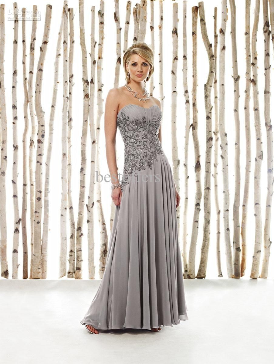 fd4a45092e7 Wholesale Bride Dresses - Buy Grace Silver Chiffon Mother of the Bride  Dresses with Strapless And Beaded Lace 211620