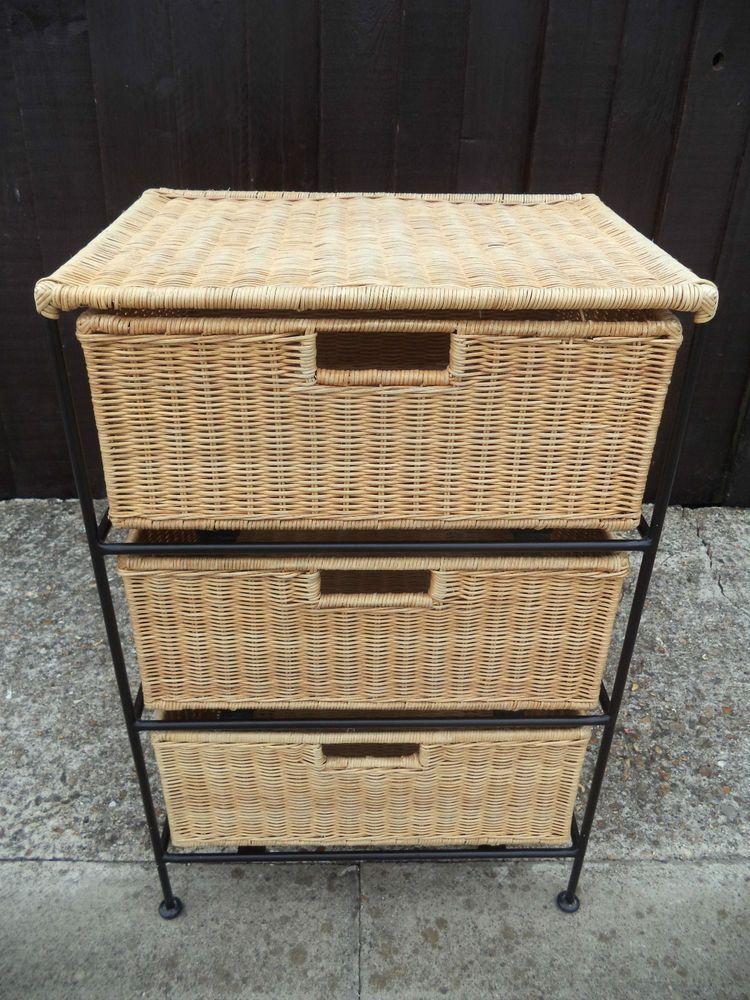Bedroom Bathroom Basket Weave Wicker Storage Unit 3 Drawers Bathroom Baskets Basket Weaving Storage Unit