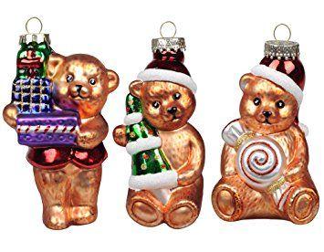 Ki Store Christmas Bear Tree Ornaments Glass Teddy Bears 4 7 Hanging Decorati Christmas Ornaments Vintage Christmas Tree Decorations Glass Christmas Ornaments