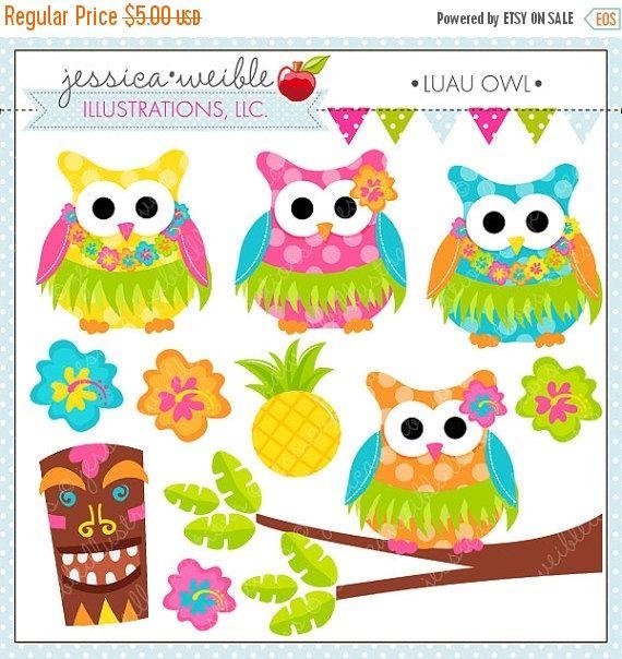 Luau Owl Cute Digital Clipart For Commercial Or Personal Use Etsy Clip Art Digital Clip Art Cute Alphabet