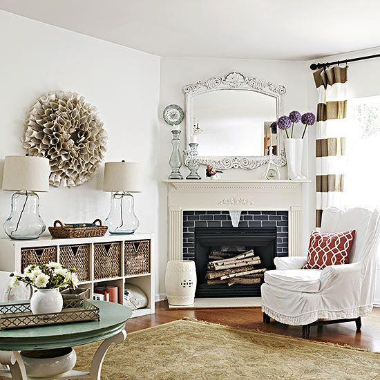 Improve Your Home In Just A Few Days With These 32 Weekend Projects Living Room Arrangements Living Room With Fireplace Corner Fireplace