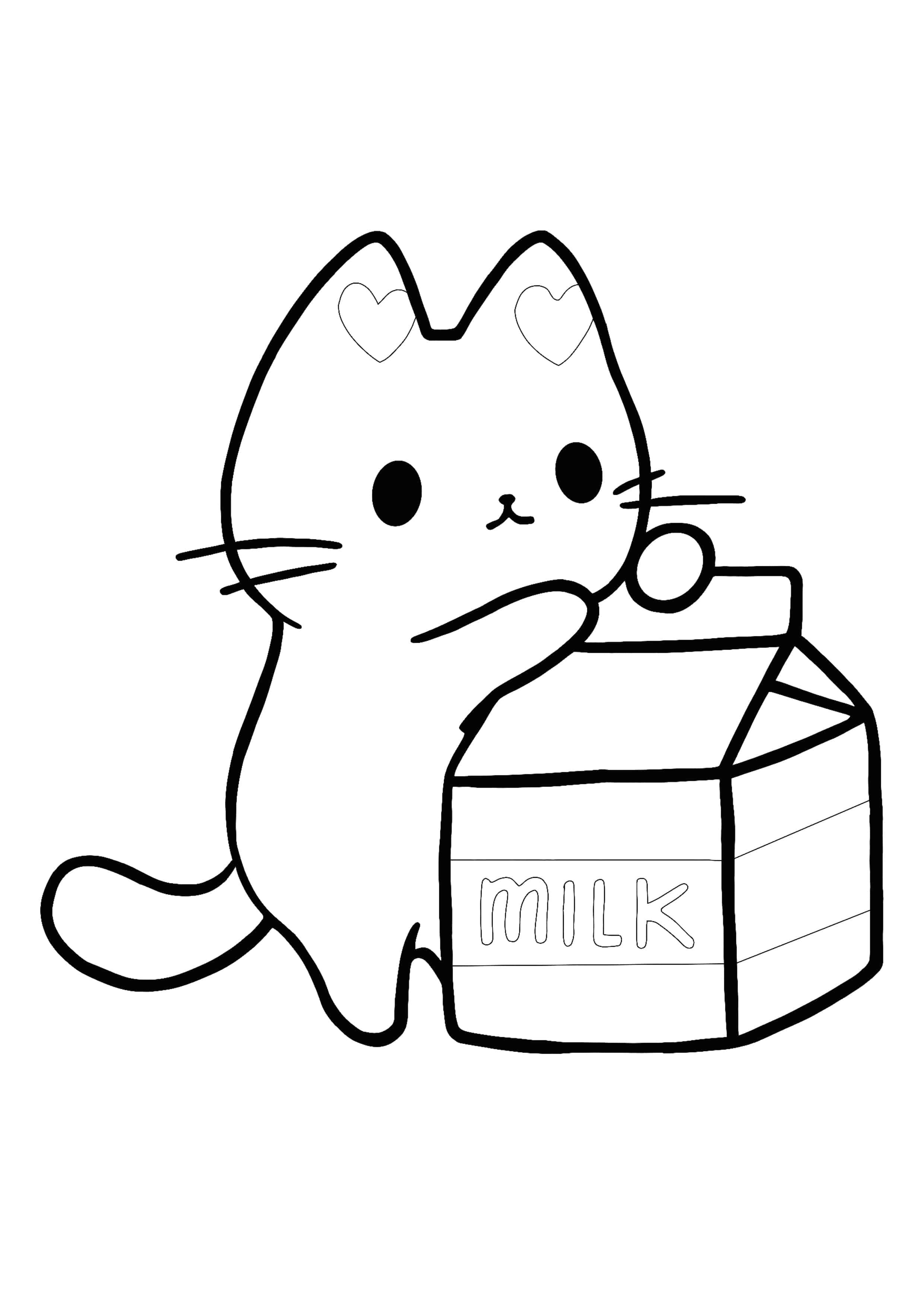 Kawaii Animals Coloring Pages : kawaii, animals, coloring, pages, Kawaii, Kitten, Coloring, Page,, Kitty, Coloring,, Puppy, Pages