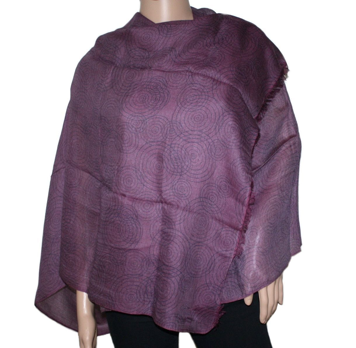 Dark purple Bamboo scarf Cashmere shawl, Purple, Wool scarf