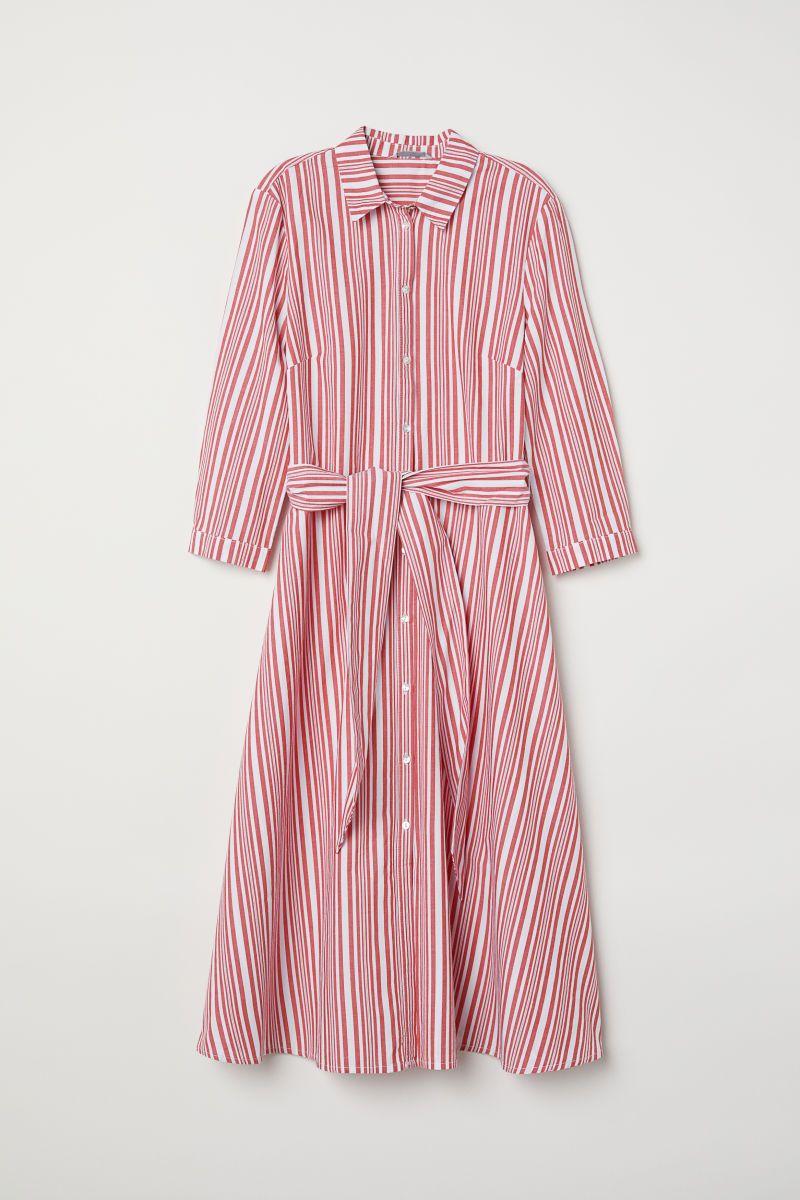 Vestido camisero de rayas | Blanco/Rayas rojas | MUJER | H&M MX ...