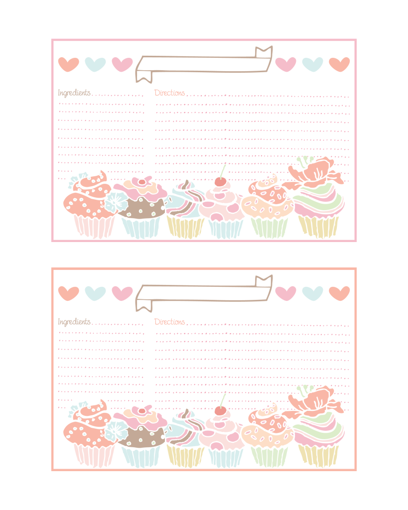 Cupcake Recipe Cards and more all FREE – Free Recipe Card Templates for Microsoft Word