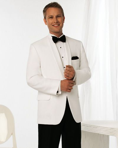 Groom's Wear: White Jacket, Black Pant Tuxedos | Wedding ...