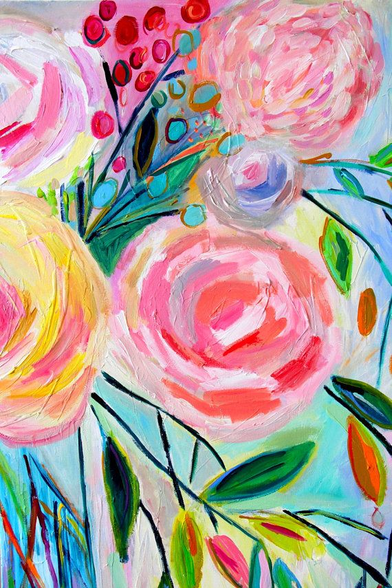 Large still life abstract flowers colorful bouquet in for Painting large flowers in acrylic
