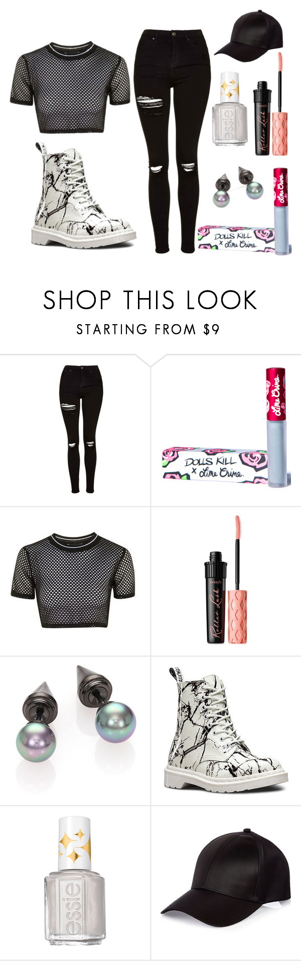 """Untitled #16"" by arrabella-rose ❤ liked on Polyvore featuring Topshop, Lime Crime, Benefit, Majorica, Dr. Martens, Essie and River Island"