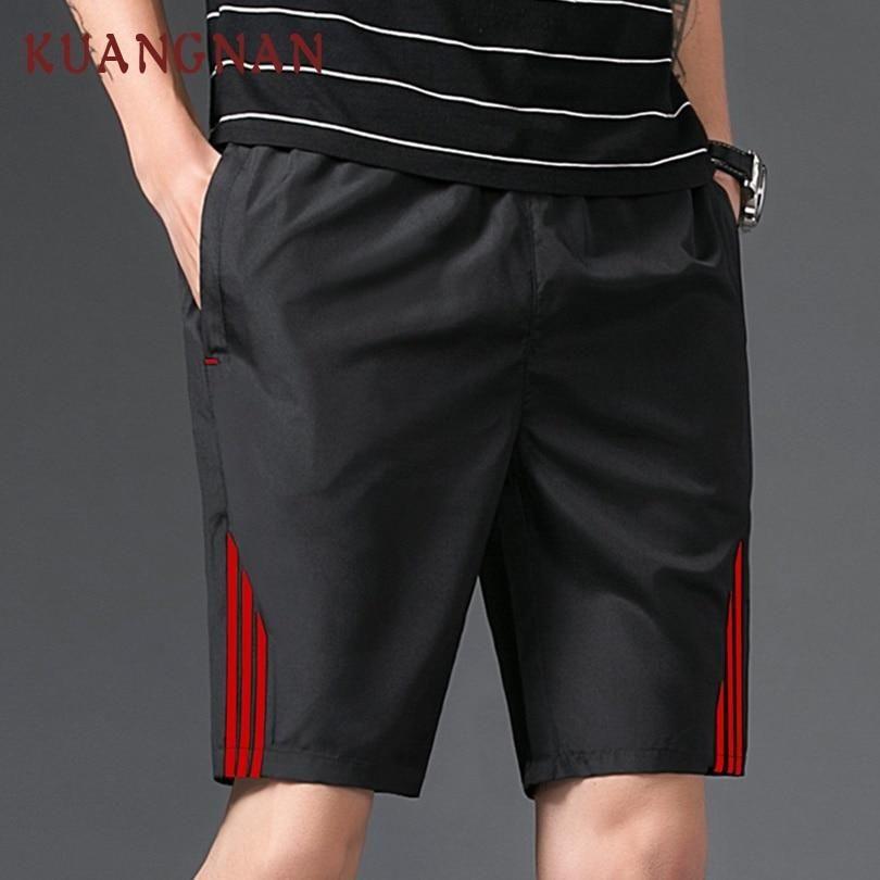 KUANGNAN Japanese Casual Shorts Men Drawstring Red Striped