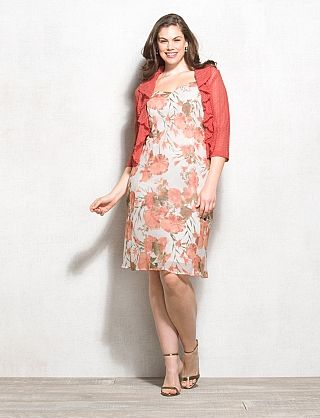Plus Size Floral Jacket Dress