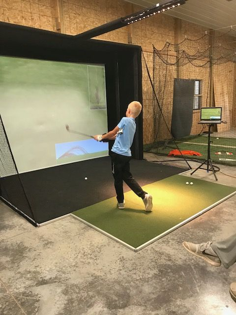 Electronic Driving Range Inside Man Cave
