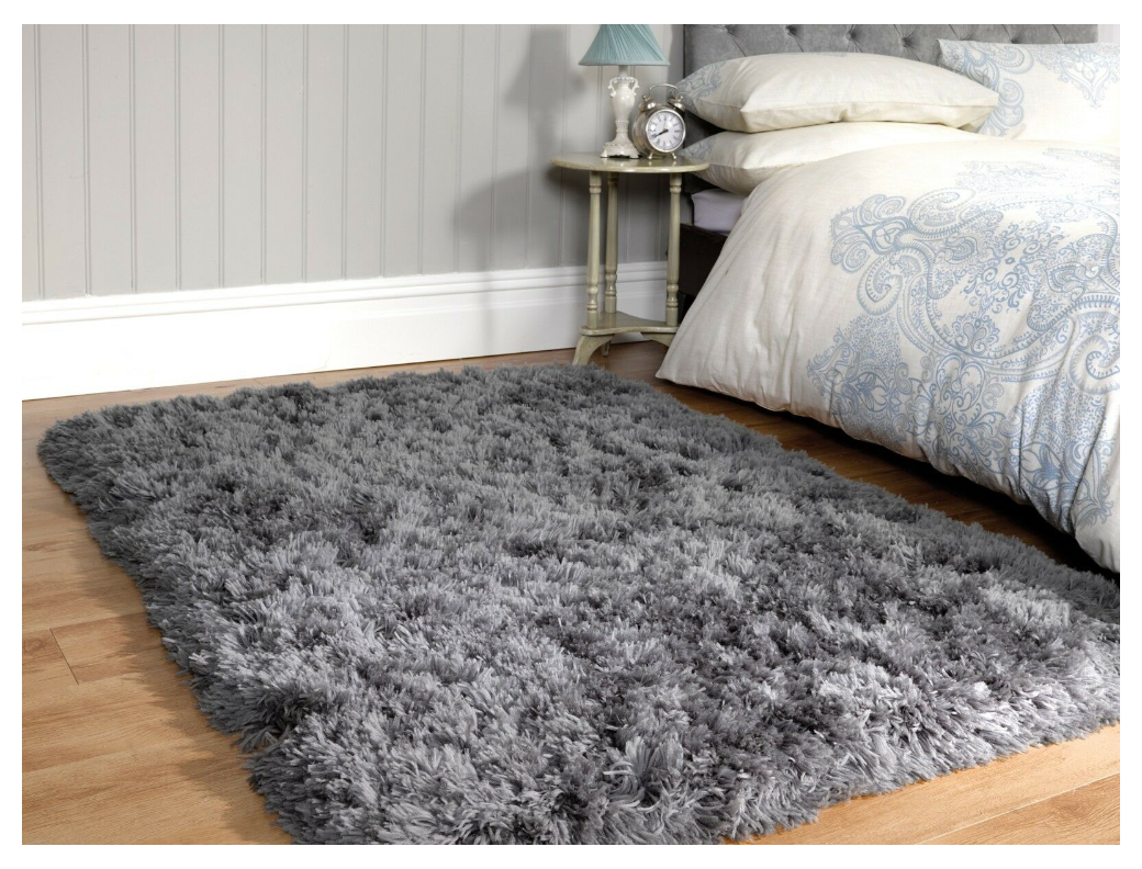 Small Large Grey Plush Soft Sumptuous Fluffy Long Deep Shaggy Pile Rug Ebay Large Grey Rug Small Large Grey Plush Soft S In 2020 Large Grey Rug Grey Rugs Rugs