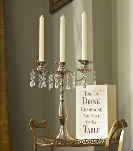 silver candle holder crystal wedding table centre decoration vintage candelabra   eBay