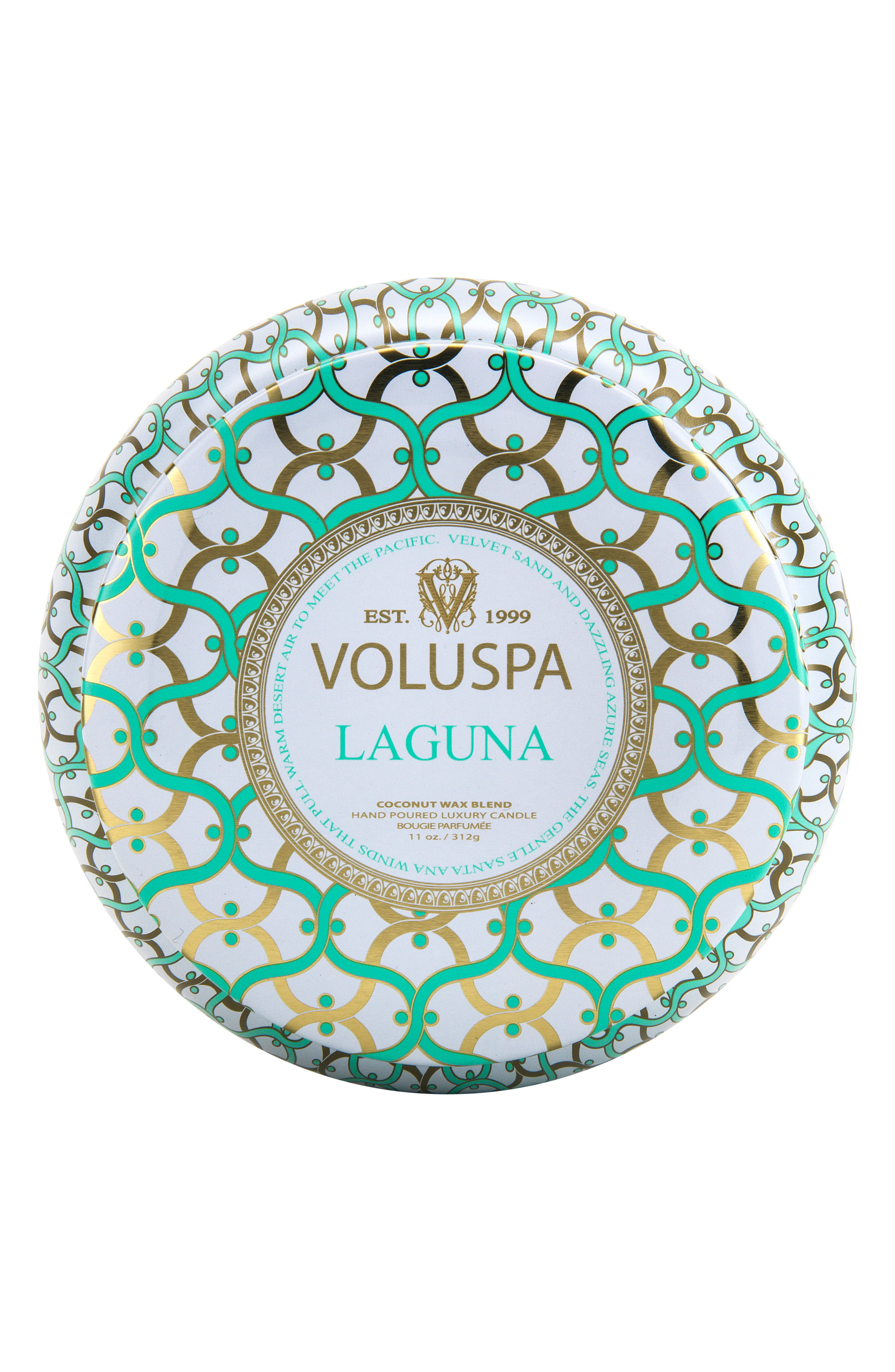 Voluspa Maison Blanc Laguna Maison Metallo Two Wick Candle