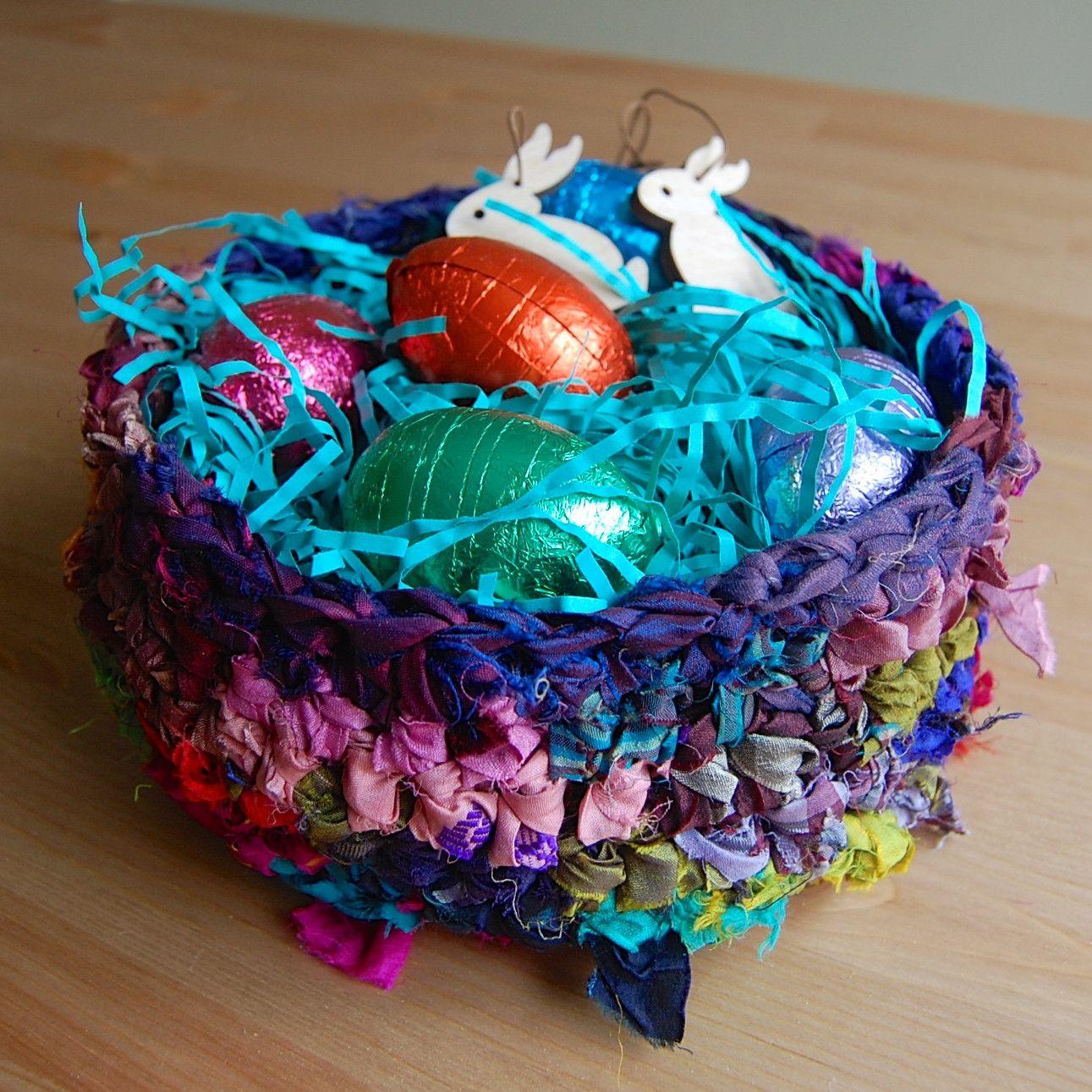 Crochet Sari Ribbon Nesting Basket Free Pattern - makes a great ...