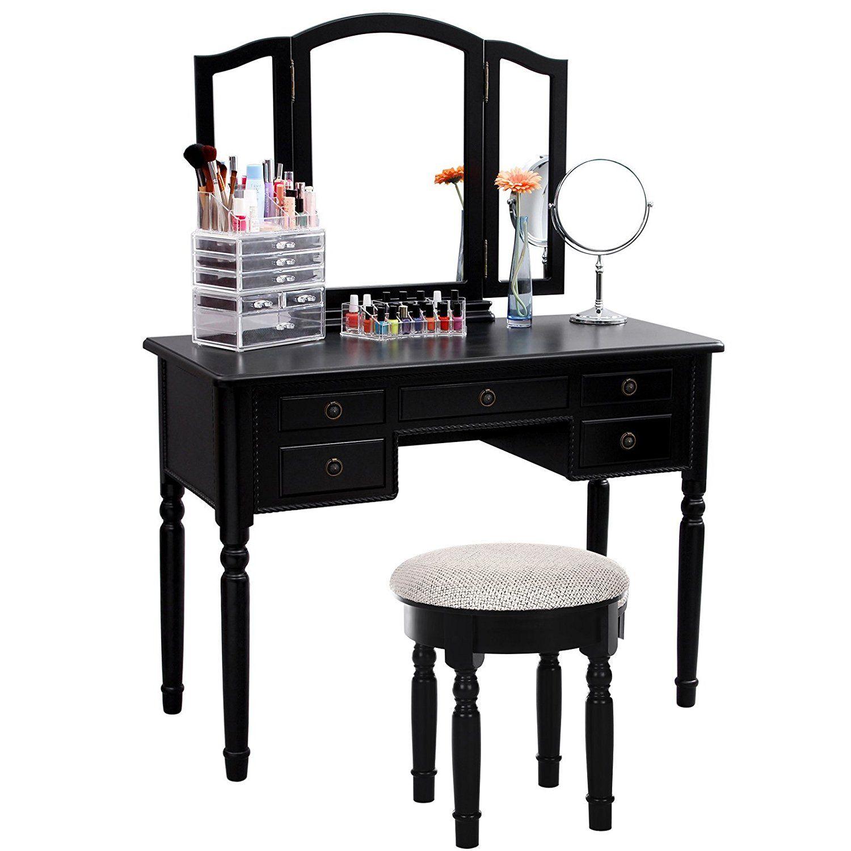 Amazon songmics vanity set tri folding mirror make up amazon songmics vanity set tri folding mirror make up dressing table geotapseo Gallery