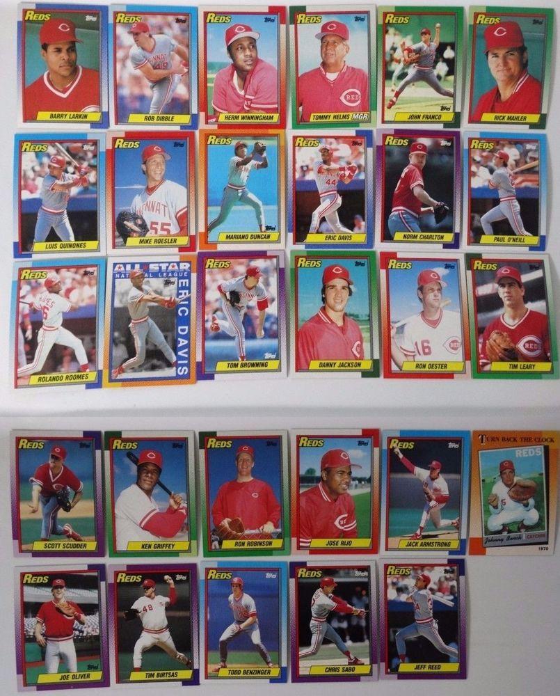 1990 topps cincinnati reds team set of 29 baseball cards