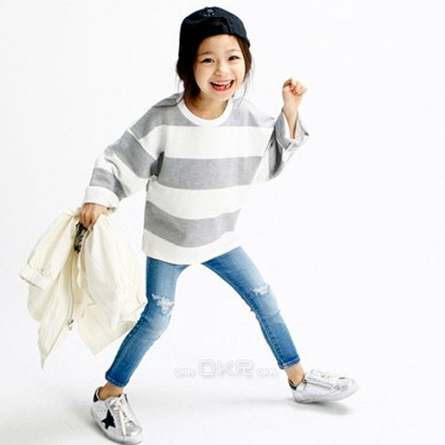 7138559bd2eb6 TinyPokke  s selection ワイドボーダーロングTシャツ-Tシャツ- 女の子 男の子 海外