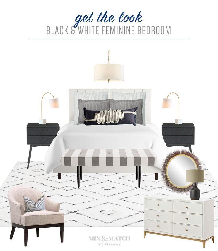 Get The Look: Black & White Feminine Bedroom