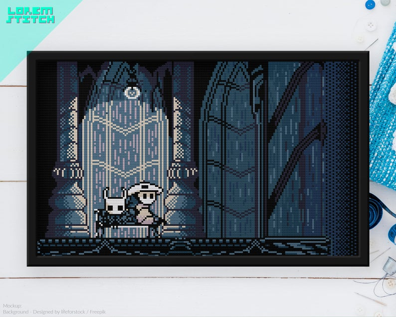 Hollow Knight Quirrel Bench City Of Tears Checkpoint Videogame Cross Stitch Pattern Instant Download Pdf Cross Stitch Patterns Stitch Patterns Cross Stitch