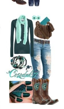 Country outfit with peacock feathers. I like this but not to crazy about the jeans or boots. No sense in buying boots to go with one outfit...