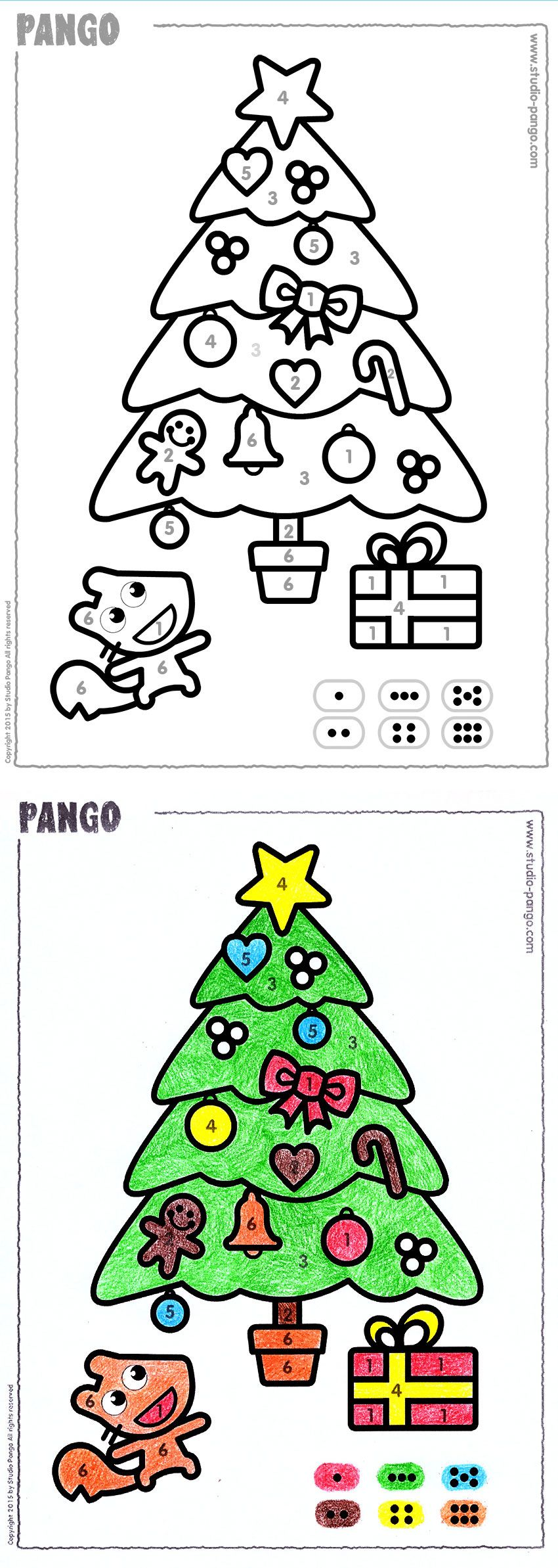 Winter tree to color by numbers. Merry christmas ! #christmas ...