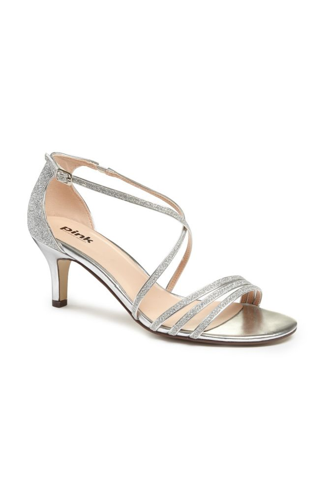 Delicate Thin Strap Metallic Low Heel Sandals - Silver, 6 Women's ...
