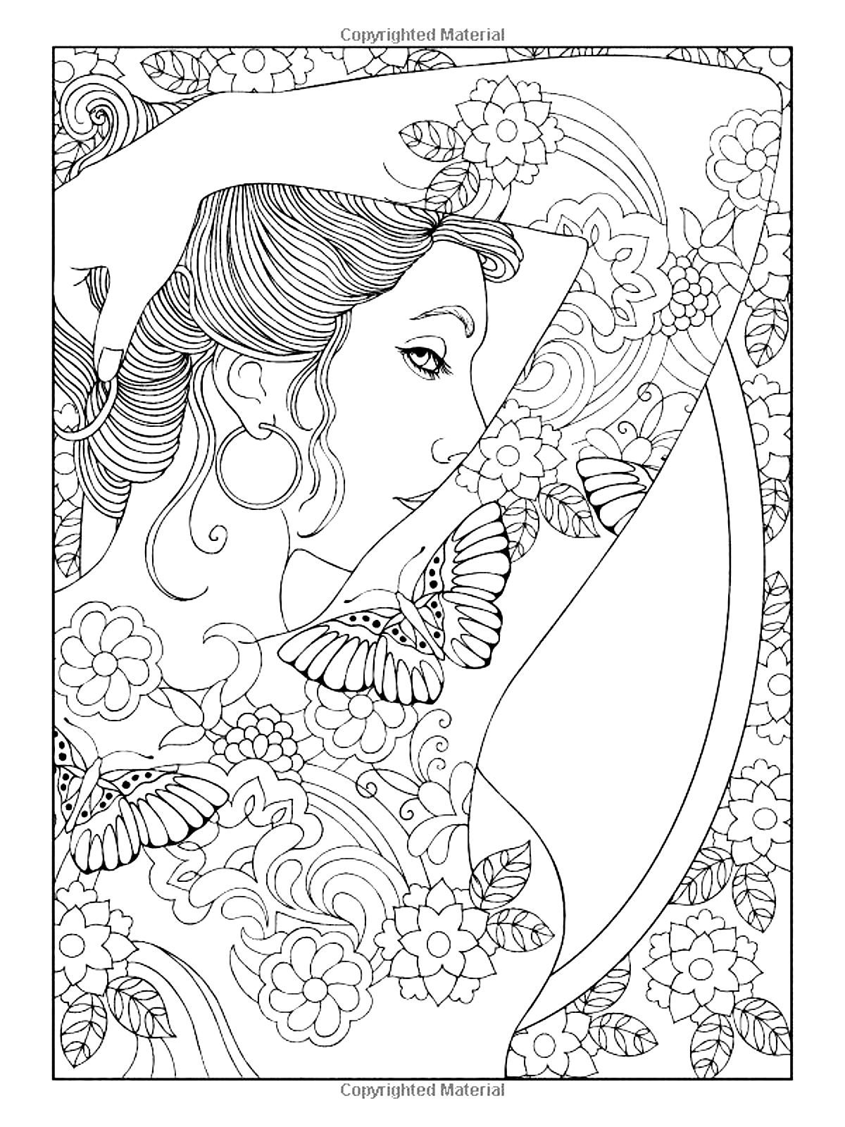 Free Coloring Page Coloring Adult Shoulder Tattooed Woman