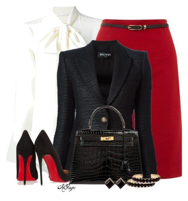 Classic Winter Office Style by kginger on Polyvore featuring мода, Chloé, Balmain, Yumi, Christian Louboutin and Hermès