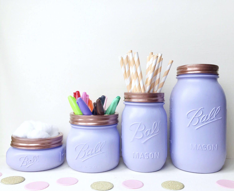 Purple Mason Jar, lilac makeup brush holder, rose gold desk ...