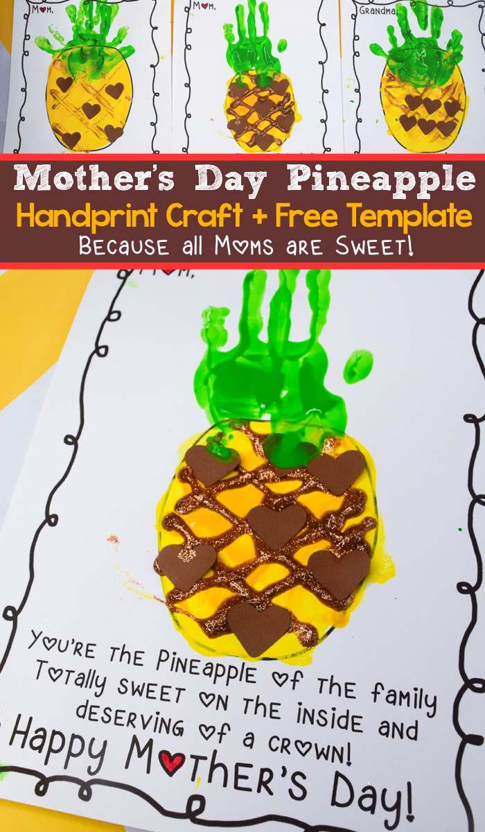 mother s day pineapple handprint craft for kids and free template