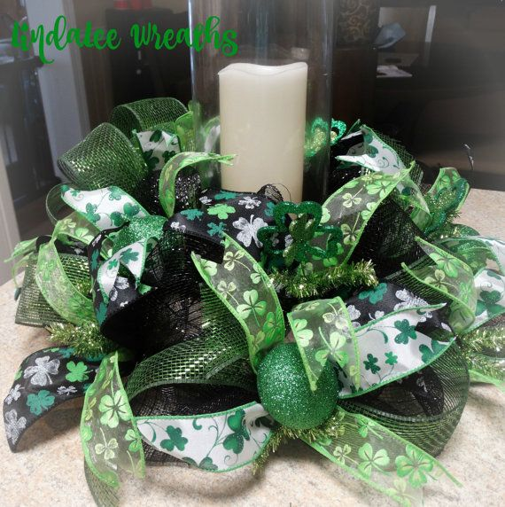 St. Patrick Day Deco Mesh Centerpiece St. by LindaLeeWreaths
