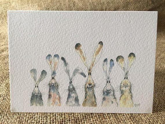 Packung mit fünf Hasenkarten, Hasenkarten, sechs Hasen, fünf Karten #cartedevoeuxoriginale