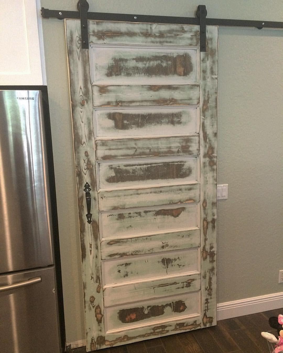 Sliding Door With A Distressed Paint Job Our Portfolio