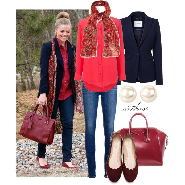 """""""Pinterest Look: Red and Blue Outfit"""" by natihasi on Polyvore"""