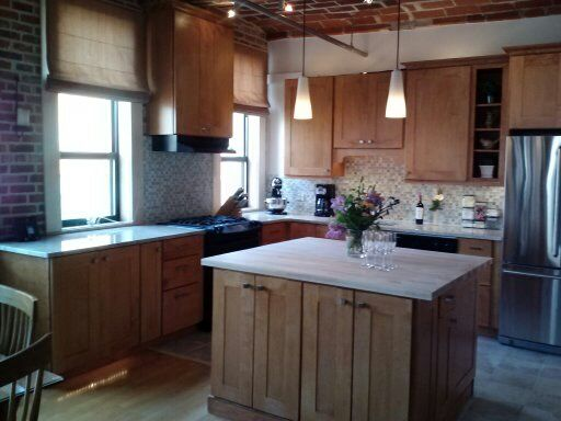 Loft Style Kitchen with Harvest Gold Maple Wood Cabinets ...