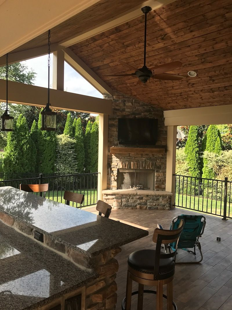 Outdoor Covered Patio With Fireplace Great Addition Idea Dream Dream Dream: Outdoor Living Areas — Dream Builders, LLC